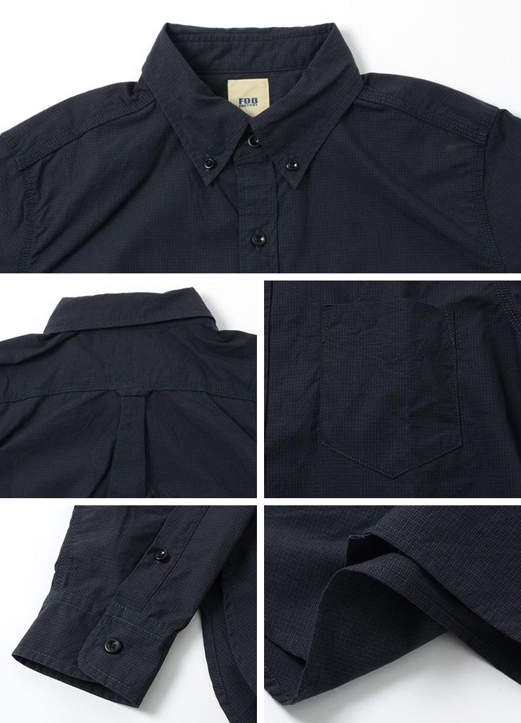 FOB FACTORY (FOBファクトリー) F3434 ピンチェック ボタンダウンシャツ / メンズ / チェック / 長袖 / コットン / 日本製 / PINCHECK B.D SHIRT