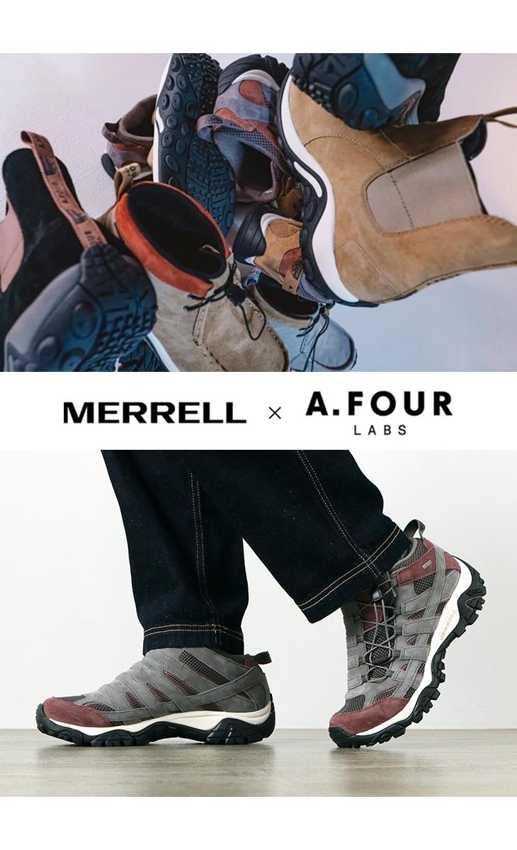 MERRELL × A.FOUR LABS(メレル x エーフォーラブス) ゴアテックス モアブ ジャングルモック シューズ / コラボ 限定品 / メンズ / アウトドア / 機能素材 / アフタースポーツ / イージー 快適 / J2003377 J2003379 / MERRELL A.FOYR MOAB GTX
