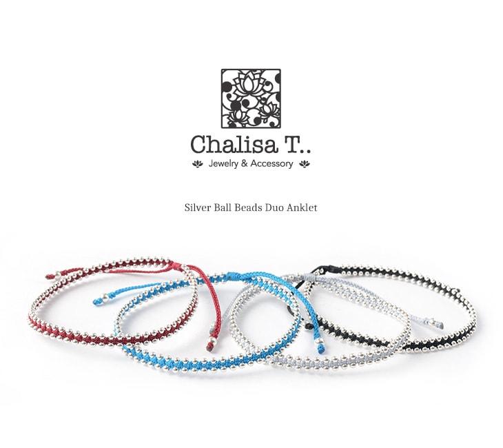 CHALISA T..(チャリッサ・ティー) シルバーボールビーズ デュオ アンクレット / シルバー925 / レディース
