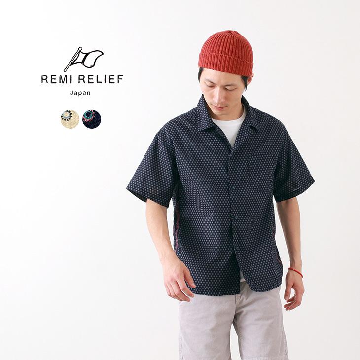 【50%OFF】REMI RELIEF(レミレリーフ) バンダナ ドット 柄シャツ / 半袖 / 無地 / メンズ / 日本製【セール】