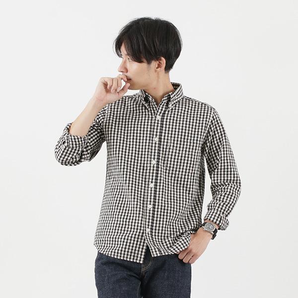 FOB FACTORY(FOBファクトリー) F3435 CLツイード ボタンダウンシャツ / メンズ / チェック / 長袖 / コットン リネン / 日本製 / C/L TWEED B.D SHIRT