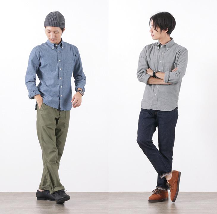 ROCOCO(ロココ) セルビッチシャンブレー ボタンダウンシャツ スタンダードフィット / 長袖 / 無地 / メンズ / 日本製