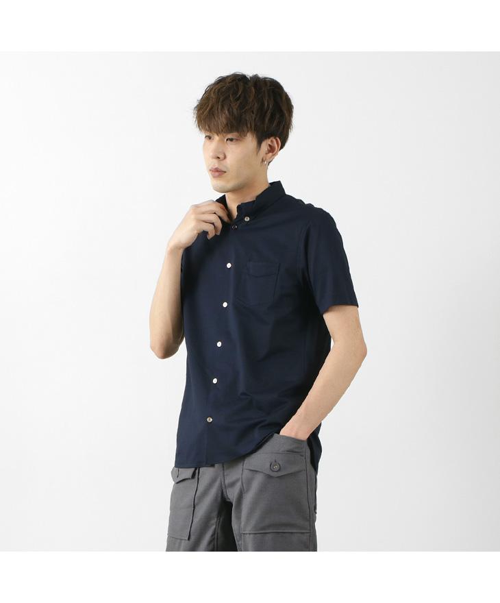 RE MADE IN TOKYO JAPAN(アールイー) クールマックス カノコ ドレス ボタン ダウンシャツ / メンズ / 半袖 / 上品 / ニット / 鹿の子 / 吸水速乾 / 機能素材 / 日本製 / 2020S-SH / COOL MAX KANOKO DRESS BD SHIRT
