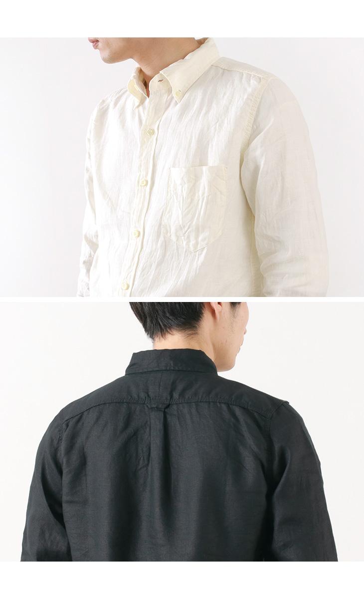 【30%OFF】FOB FACTORY (FOBファクトリー) F3425 フレンチリネン ボタンダウンシャツ / シャツ / 麻 / 長袖 / B.Dシャツ / メンズ /【セール】