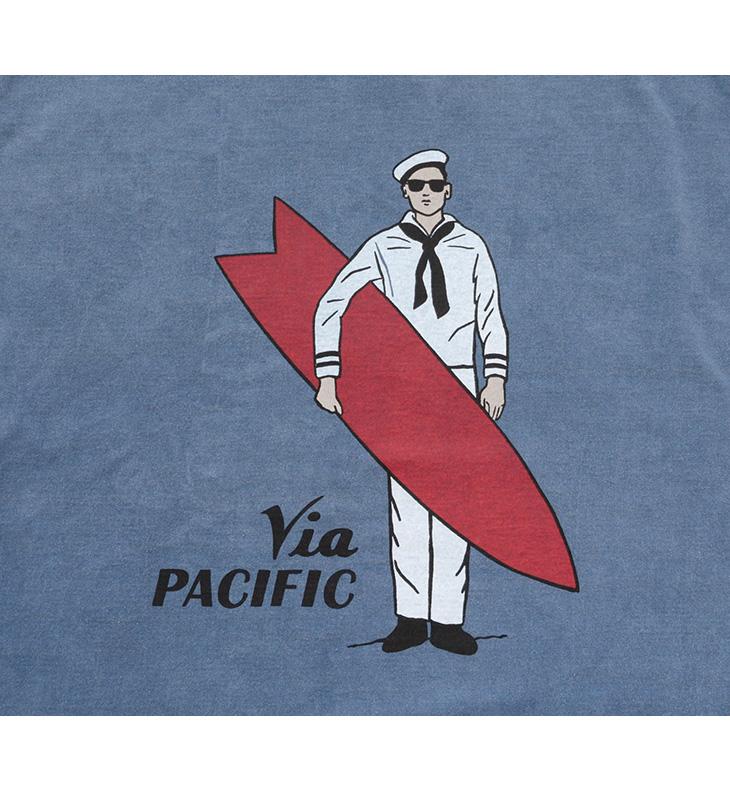 【30%OFF】CAL O LINE(キャルオーライン) ヴィア パシフィック Tシャツ / 半袖 プリント / メンズ / 日本製 / VIA PACIFIC T-SHIRT【セール】