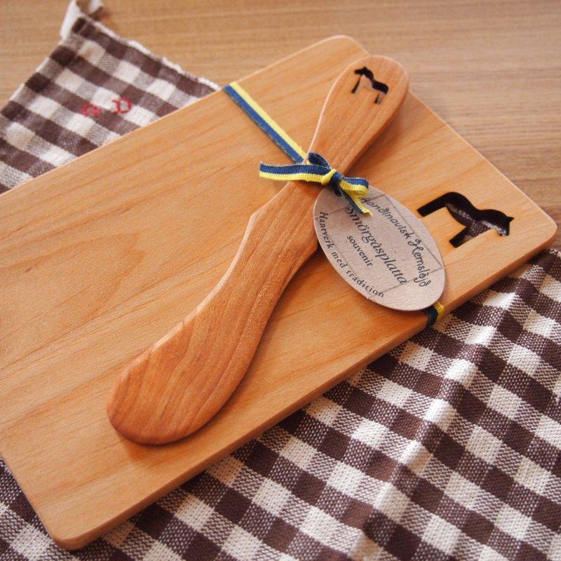 スウェーデン 木製プレート&ナイフセット<br>ダーラヘスト