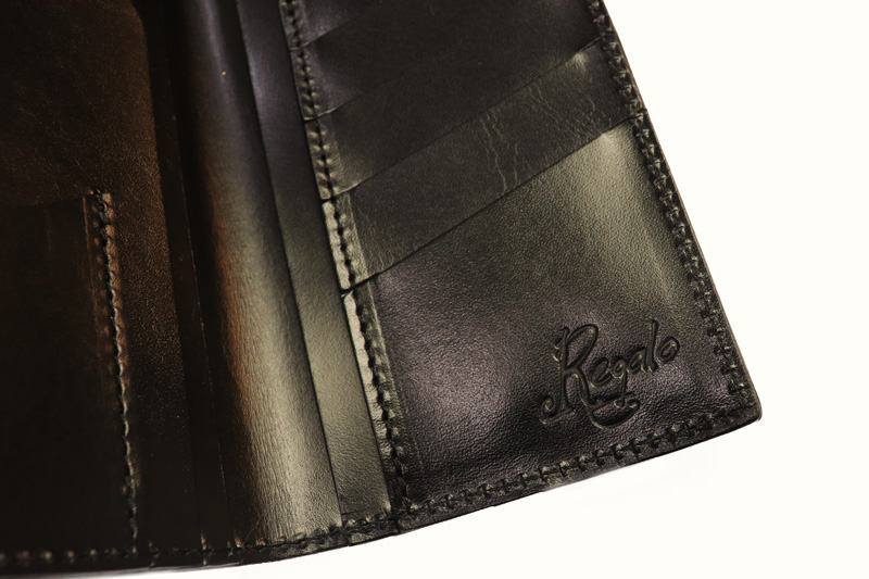 """Regalo レガーロ  ウォレット """"SLIM LONG WALLET WITHOUT COIN PURSE""""  BLACK  WL-02-BK"""