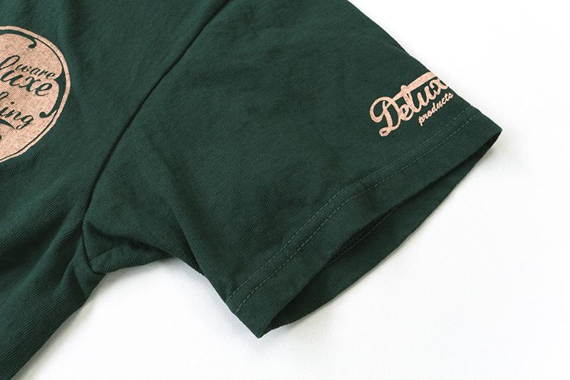 DELUXEWARE デラックスウエア 半袖Tシャツ ロゴTシャツ BLACK-FL.GREEN BRG-01B