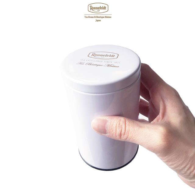 ロンネフェルト松江 オリジナル保存缶 白 茶葉100g用<br>紅茶 緑茶 ルイボス 保存 茶缶 保存缶 茶葉 保管 ハーブ 保存容器 茶筒 ブランド ロゴ キャニスター おしゃれ シンプル 上品 高級 カフェ ホテル オリジナル