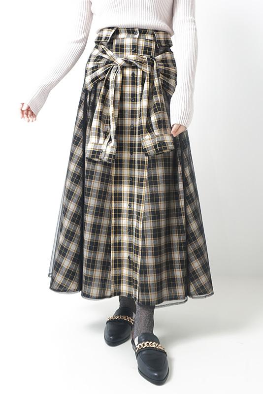 Juenu シャツデザインチェックスカート