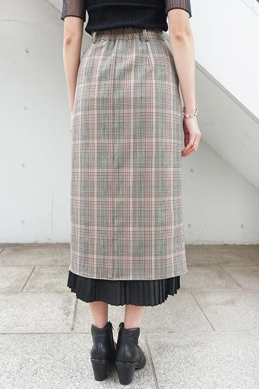Eimee Law プリーツレイヤードチェックタイトスカート