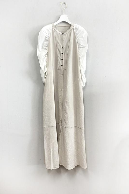 Eimee Law ギャザースリーブセミフレアシャツドレス