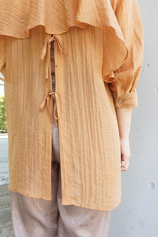 Eimee Law バックフリル&オープンシャツブラウス