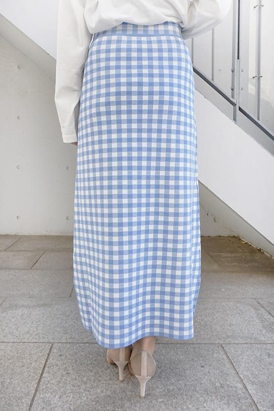 【SALE】MARILYN MOON ギンガムチェックニットスカート