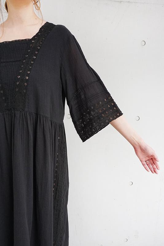 Sara mallika Cotton Gauze Lace Sleeve Dress