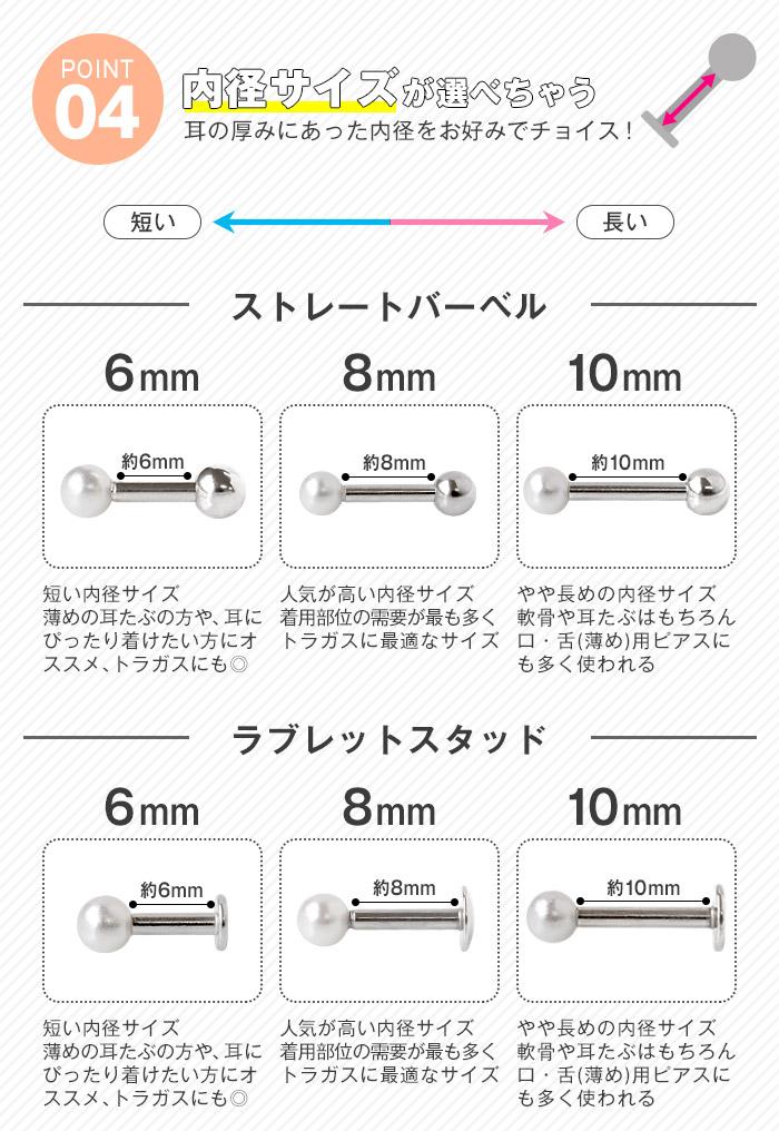 軟骨ピアス ボディピアス 18G 16G 14G 各サイズが選べる!パールのお得セット(1個売り)[通販]◆オマケ革命◆