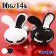 ストレートバーベル 16G 14G ボディピアス 白黒うさぎ (1個売り)[通販]◆オマケ革命◆