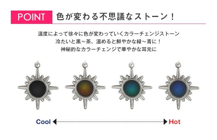 ボディピアス 16G 太陽モチーフ カラーチェンジチャーム ストレートバーベル(1個売り)[通販]◆オマケ革命◆