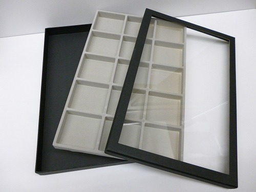 〔No.10055/56/57〕(透明フタタイプ)ルースケース収納BOX(黒+グレー)(白+白)(ピンク+白)(ブルー+白)(30×30mm用・40×40mm用・50×50mm用)
