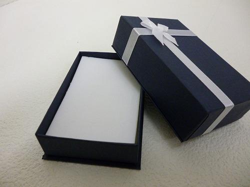 〔No.8740N〕ネック用リボンBOX ネイビー (12個入り)