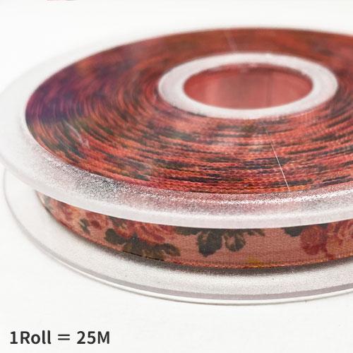 《輸入リボン》 フラワープリント リボン 10mm幅