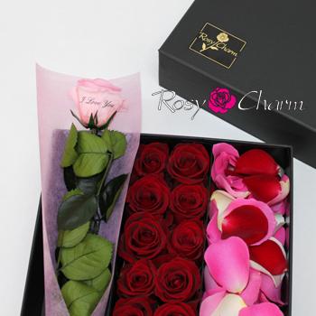 バラ風呂&メッセージローズ プリザセット|フラワーヘッド&花びら