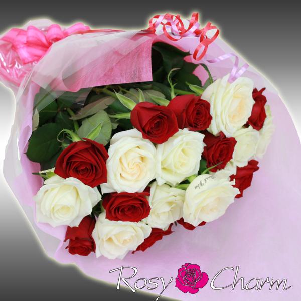 バラの花束 ミックス 赤と白|メッセージローズ・ブーケミックス(14本から108本)