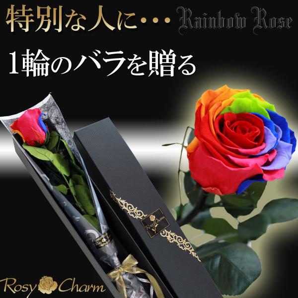 レインボーローズ プリザーブドフラワー|誕生日・記念日・プロポーズに贈る1輪のバラ