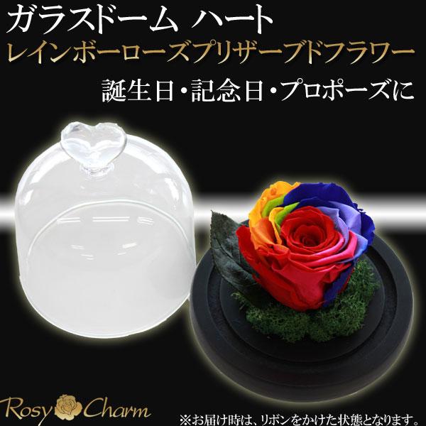 【ガラスドーム ハート】レインボーローズ プリザーブドフラワー 1輪の薔薇