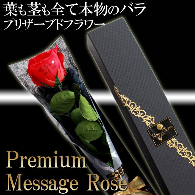 【プレミアム】メッセージローズ プリザーブドフラワー|大輪の赤いバラ1本