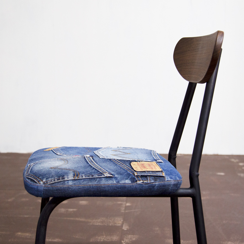 School Chair Denim Walnut