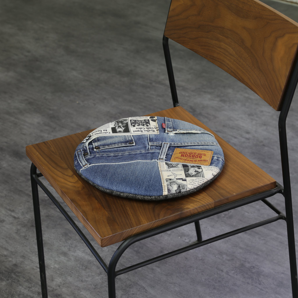 Chair Pad Denim Patchwork