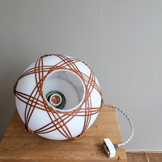 竹編み乳白ガラス ペンダントライト
