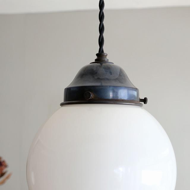 球体型乳白ガラス ペンダントライト (小)