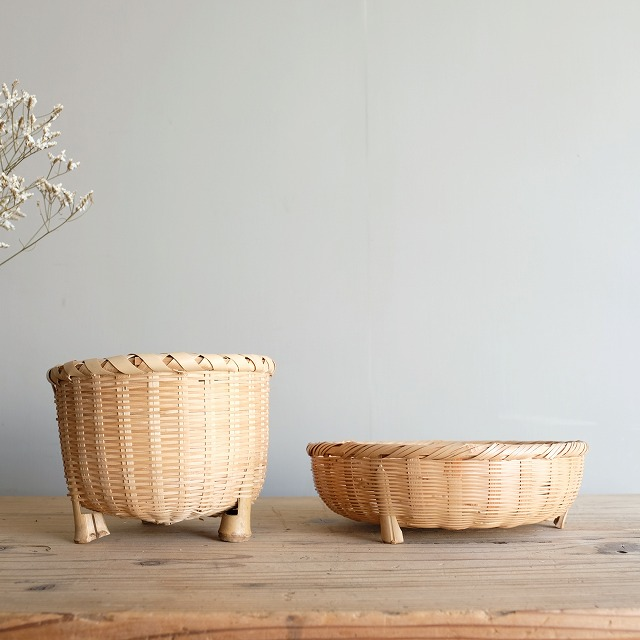 足付きの竹笊 2個セット