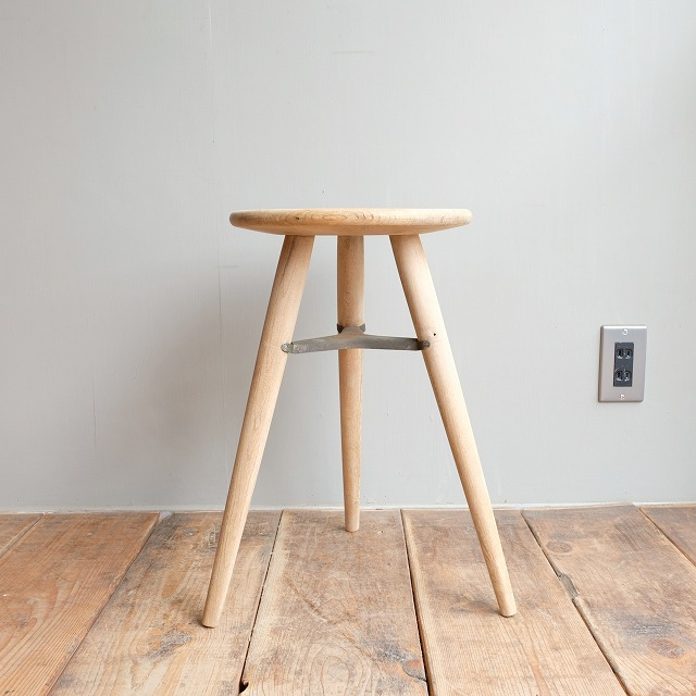 木製丸椅子 金具付き