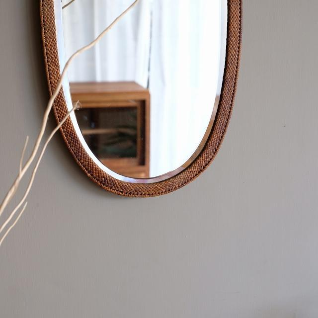 壁掛け鏡 籐編