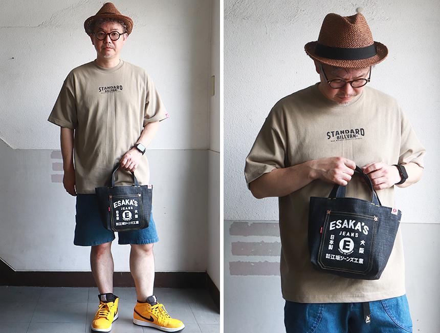 江坂ジーンズ 日本製 元祖レトロ柄 デニム・ミニ トートバッグ made in Japan Billvan ランチバッグ・エコバッグ