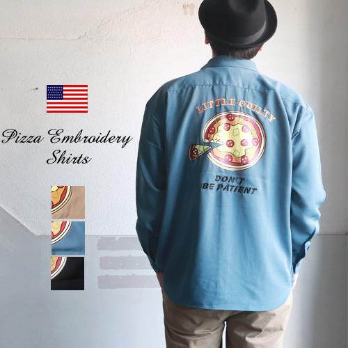ピザ刺繍&プリント ポリエステルストレッチ 長袖シャツ メンズ アメカジ