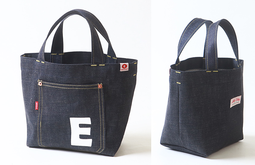 江坂ジーンズ 日本製 E柄 デニム・ミニ トートバッグ made in Japan Billvan ランチバッグ・エコバッグ