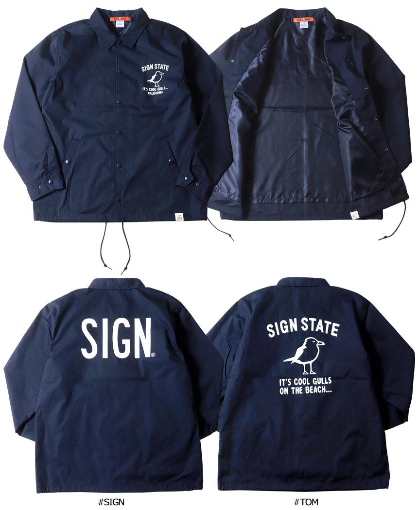SIGN STATE サインステイト TCウェザークロス SIGN プリント コーチジャケット メンズ アメカジ