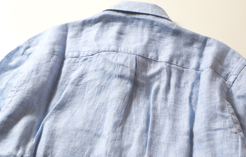 プレミアム フレンチリネン パナマ織り レギュラーカラー 長袖 シャツ