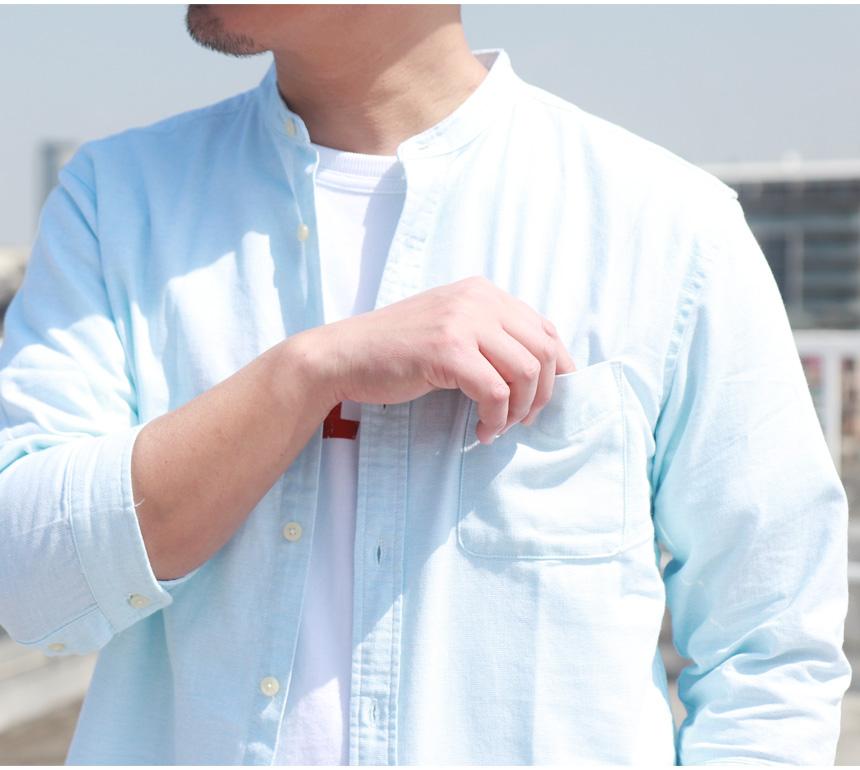綿パナマ織り 7分袖 バンドカラーシャツ 無地 シンプル ベーシック 定番