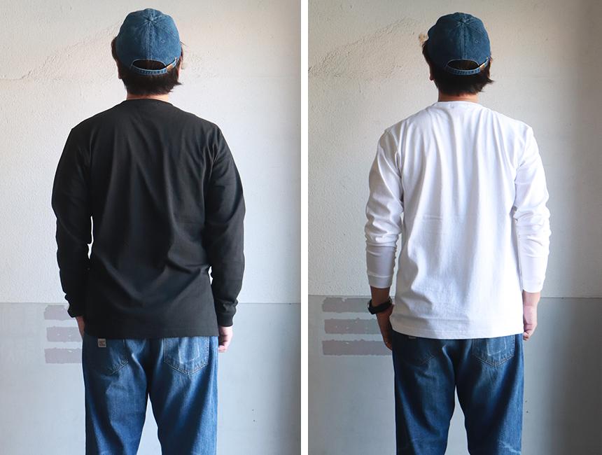 江坂ジーンズ チェッカーポケット ヘビー ロングTシャツ 袖リブ付き アメカジ ビルバン