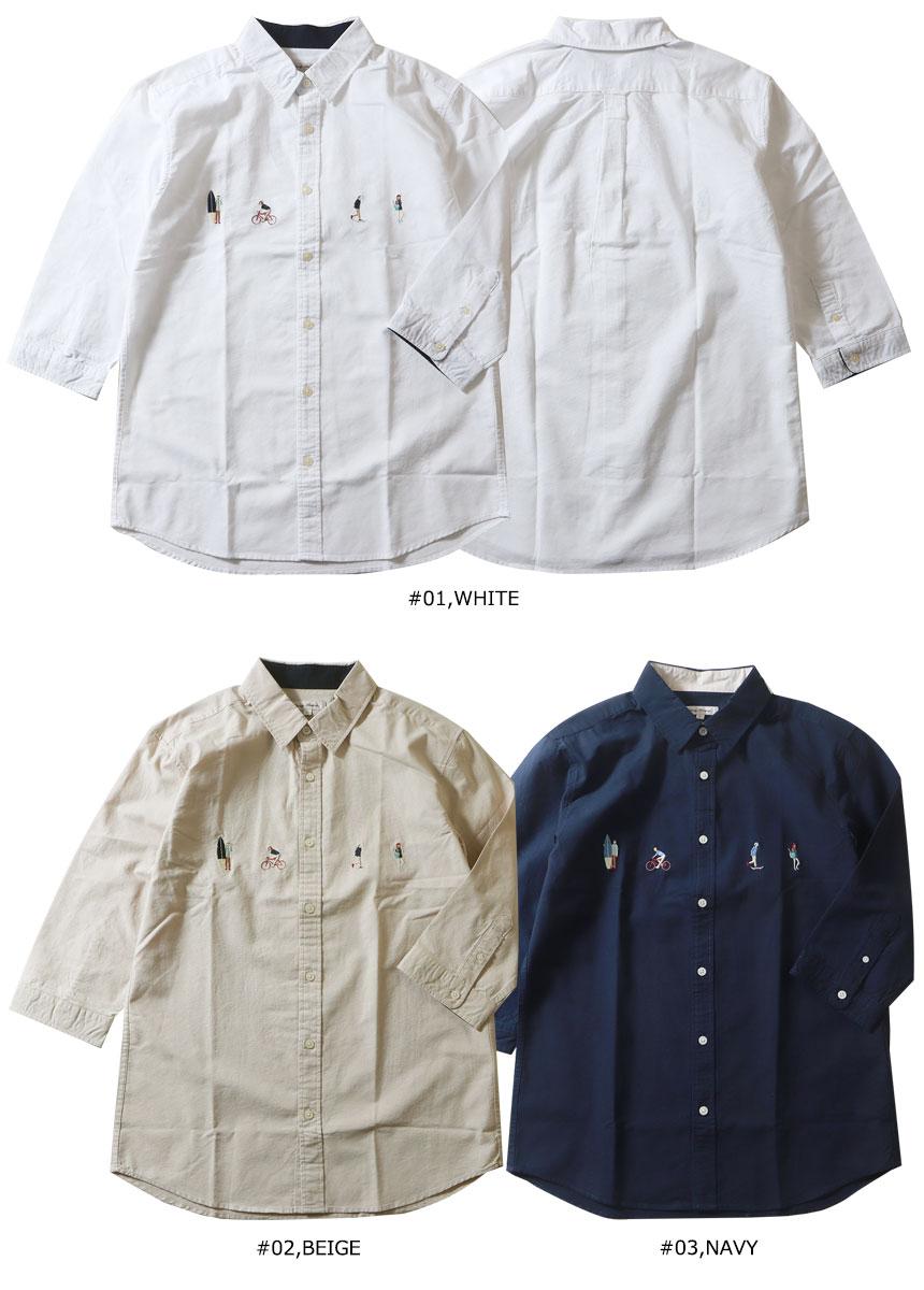 レジャー刺繍 袖裏配色 7分袖アメリカンオックスシャツ メンズ アメカジ
