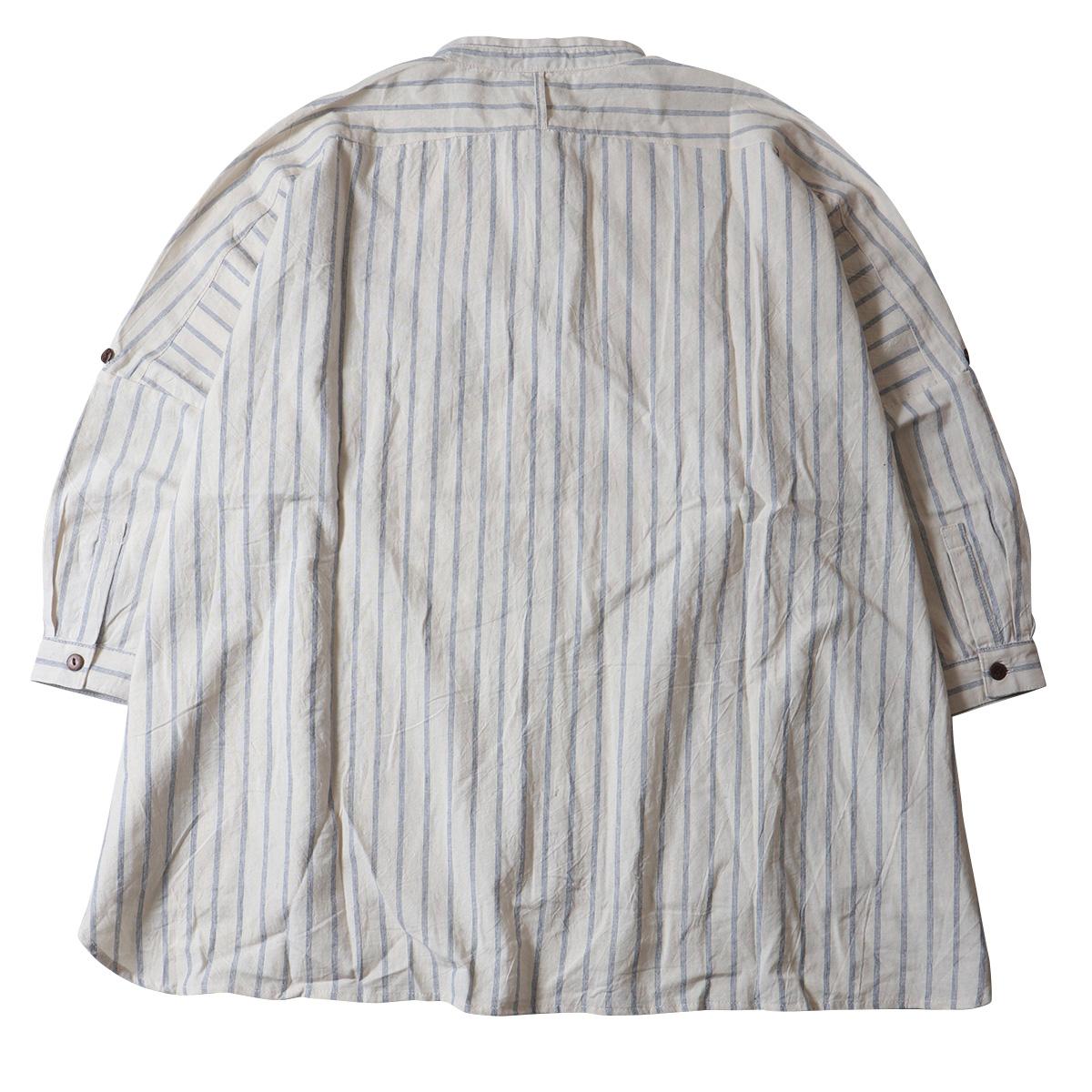 ネパール製 ストライプコットン バンドカラー ビッグシャツ nsr0904