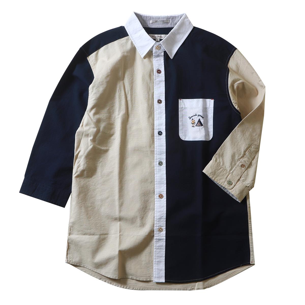 ワンポイント刺繍 ランダムボタン 7分袖アメリカンオックスシャツ メンズ アメカジ