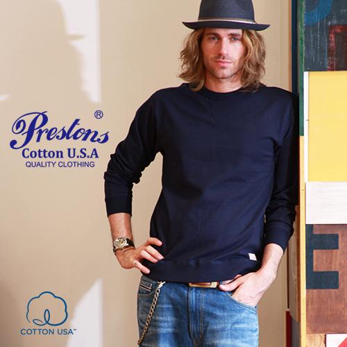 ロンT メンズ PRESTONSヘビー&タフ COTTON USA クルーネックリブ付きロングTシャツ 4カラープレストンズ