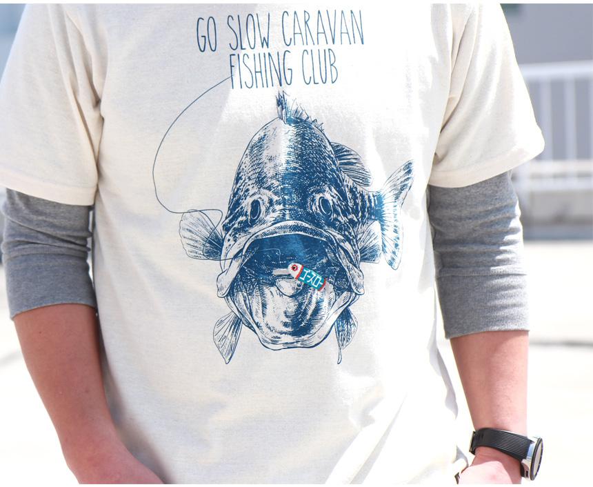 GO SLOW CARAVAN ゴースローキャラバン eco lead リサイクル天竺 FISHING CLUB ルアー刺繡 Tシャツ