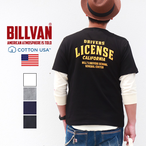 Tシャツ BILLVAN DRIVERS LICENSEバックプリント ヘビーTシャツ 210325 ライセンス ビルバン メンズ